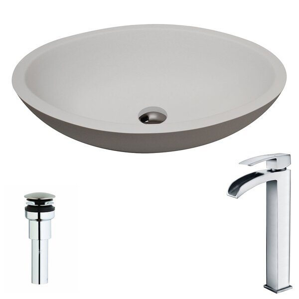 Maine Stone Oval Vessel Bathroom Sink with Faucet