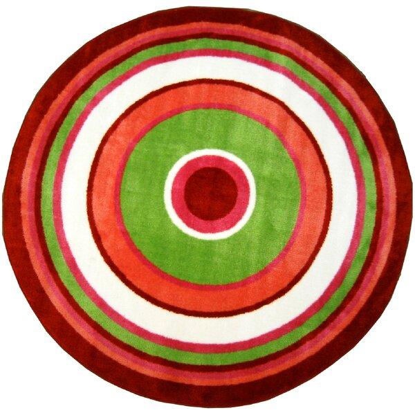 Fun Shape High Pile Concentric Circles Orange Area Rug by Fun Rugs