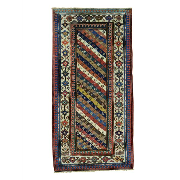 One-of-a-Kind Halpin Caucasian Gendge Exc Cond Hand-Knotted Red/Blue Area Rug by World Menagerie