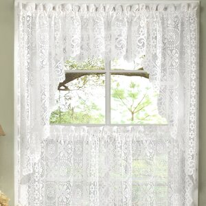 Old World Style Floral Heavy Lace Kitchen Curtain Swag