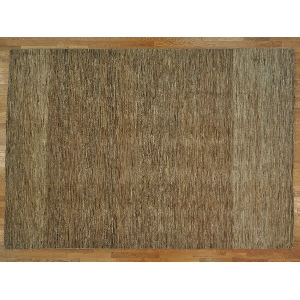 One-of-a-Kind Becker Striped Natural Handwoven Wool Area Rug by Isabelline