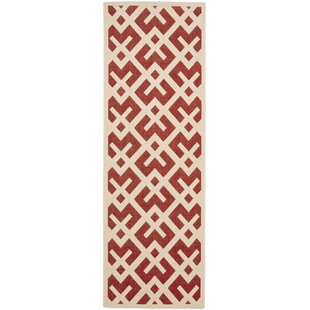 Quinlan Red / Bone Outdoor Rug by Mercury Row