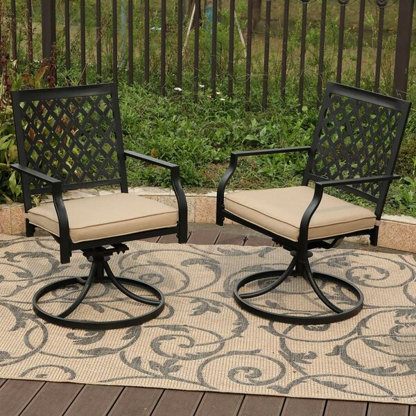 Stills Outdoor Metal Swivel Patio Dining Chair With Cushion (Set Of 2) By Charlton Home