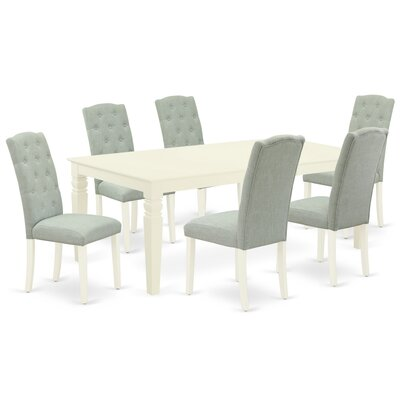 Winston Porter Khine 7 Piece Extendable Solid Wood Dining Set  Table Color: Linen White, Chair Color: Baby Blue