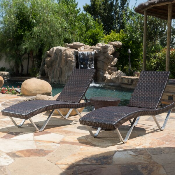 Champlost Sun Lounger Set with Table by Wrought Studio Wrought Studio