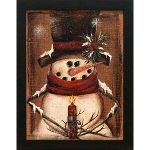 'Burlap Snowman Holding Candle' with Glitter Flakes Graphic Art Print by The Holiday Aisle