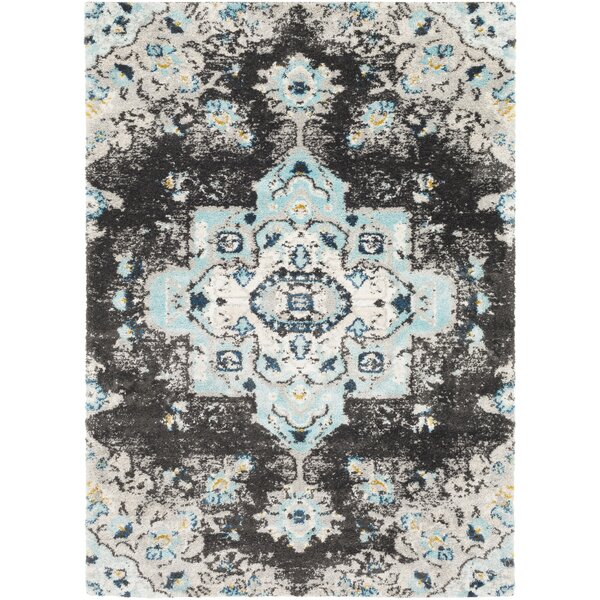 Ingram Black/Aqua Area Rug by World Menagerie