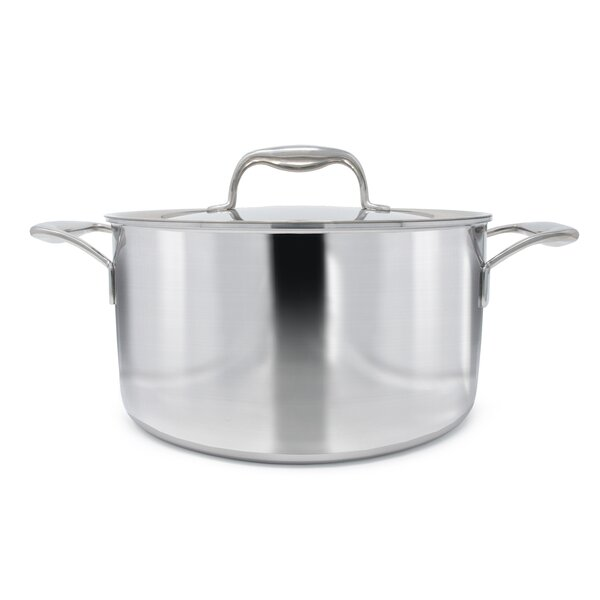 Duratux Tri-Ply Stainless Steel Round Stock Pot with Lid by Tuxton Home