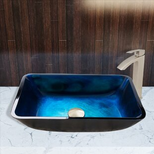 Reviews Turquoise Water Glass Rectangular Vessel Bathroom Sink with Faucet By VIGO