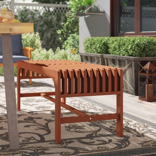 Laszlo Backless Wood Two Seater Picnic Bench by Beachcrest Home Beachcrest Home
