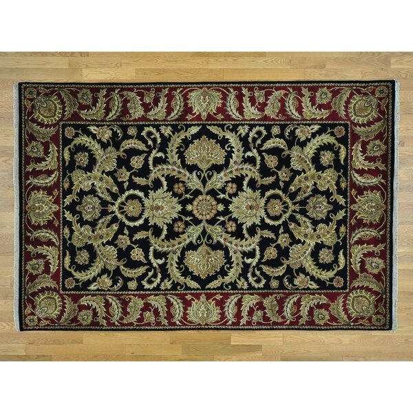 One-of-a-Kind Bear Plush Hand-Knotted Black Wool Area Rug by Isabelline