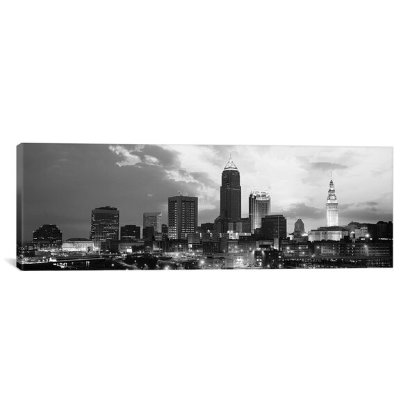 Cleveland Panoramic Skyline Cityscape Photographic Print on Canvas in Black and White by iCanvas