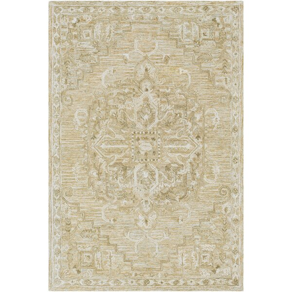 Jambi Traditional Hand-Tufted Wool Tan/Ivory Area Rug by Ophelia & Co.