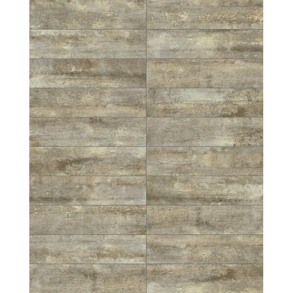 Farmstead 6 x 24 Porcelain Wood Look Tile in Metal by Parvatile