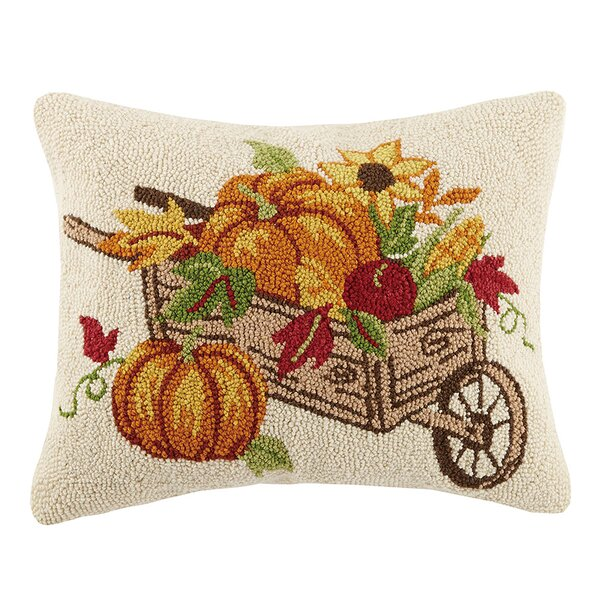 Munos Cornucopia on Wheelbarrow Wool Throw Pillow by August Grove