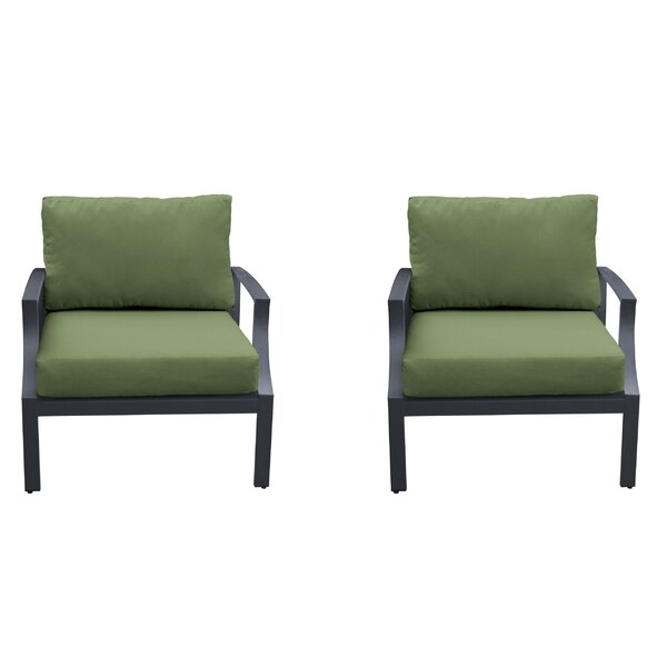 Kahn Patio Chair with Cushions (Set of 2) by Wrought Studio