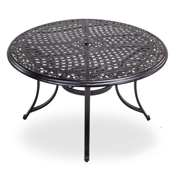 """48"""" Round Patio Dining Table With Umbrella Hole Aluminum Top Outdoor Furniture by Fleur De Lis Living"""