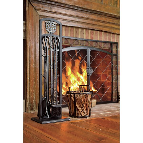 4 Piece Steel Fireplace Tools Set by Plow & Hearth