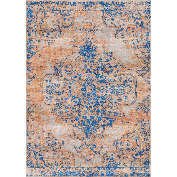 Aliza Handloom Beige/Blue Area Rug by Bungalow Rose