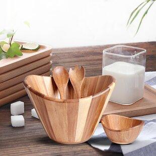 7 piece salad bowl set set of 7 - Wooden Salad Bowl Set