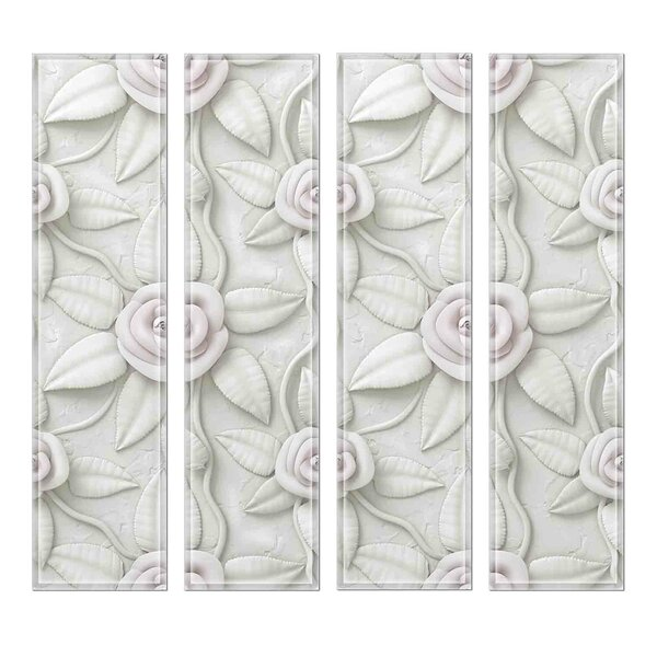 Crystal 3 x 12 Beveled Glass Subway Tile in Snow by Upscale Designs by EMA