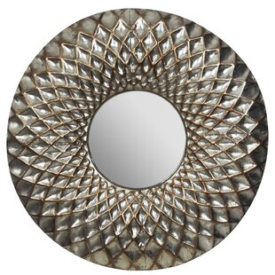 World Menagerie Wheat Hammered Lattice Round Accent Mirror