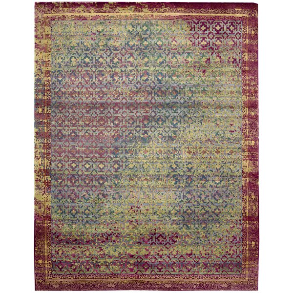 Nommern Hand-Knotted Blue/Yellow/Pink Area Rug by Bungalow Rose
