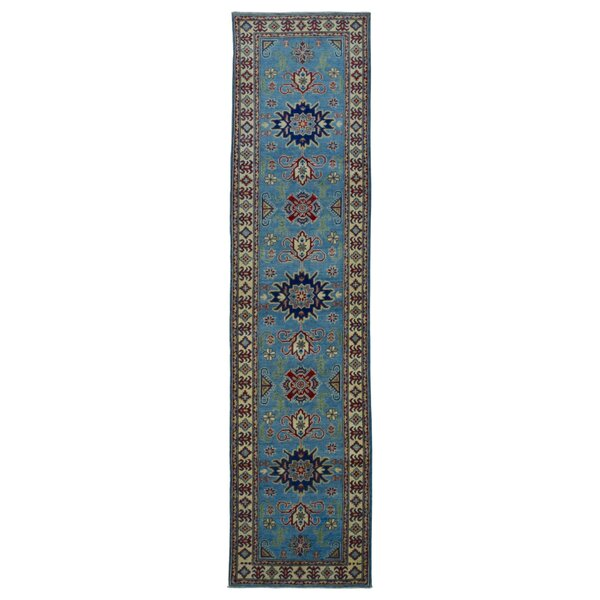 One-of-a-Kind Evert Traditional Kazak Hand-Woven Wool Blue Area Rug  by Isabelline