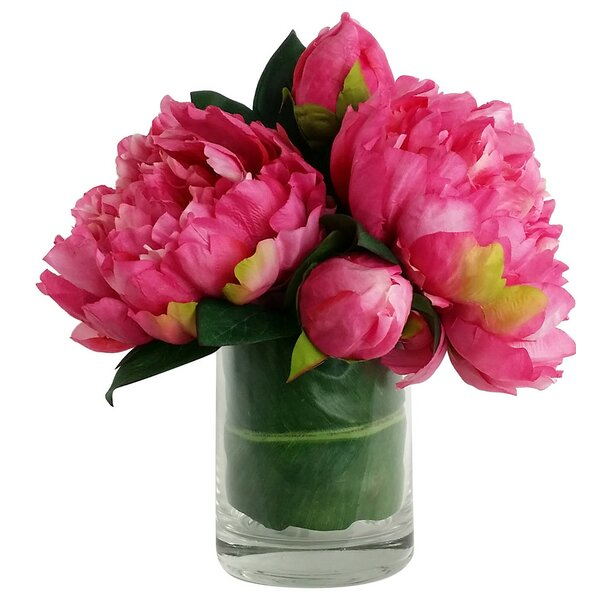 Artificial Silk Peony Floral Arrangements in Decorative Vase by RG Style