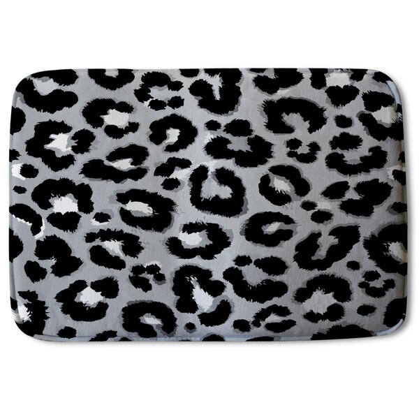 Kaira Leopard Print Designer Rectangle Non-Slip Animal Print Bath Rug