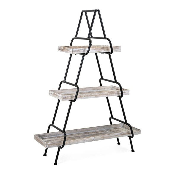Suazo Wood and Metal Etagere Bookcase by Gracie Oaks