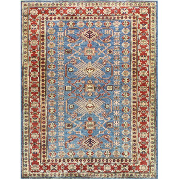 One-of-a-Kind Harrod Hand Woven Wool Light Blue Area Rug by Bloomsbury Market