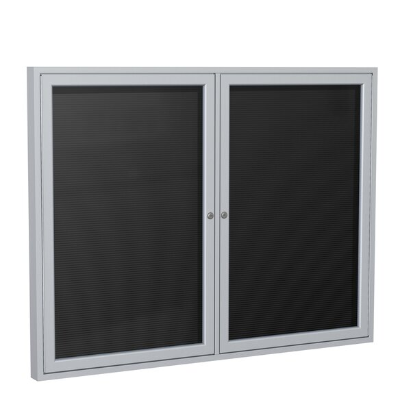 Ghent 2 Door Enclosed Vinyl Letter Board with Satin Aluminum Frame by Ghent