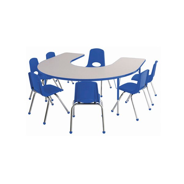 8 Piece Horseshoe Activity Table & 12 Chair Set by ECR4kids