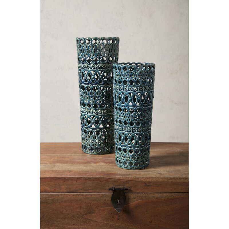 Mistana Cylinder Blue Ceramic Floor Vase Reviews Wayfair