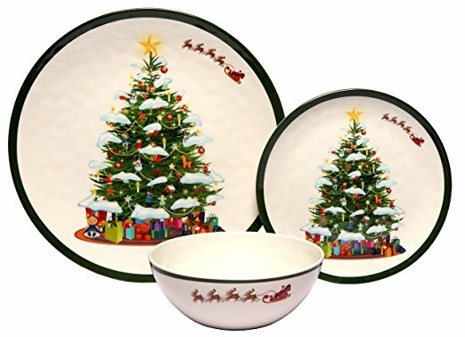 Christmas Tree 36 Piece Dinnerware Set, Service fo
