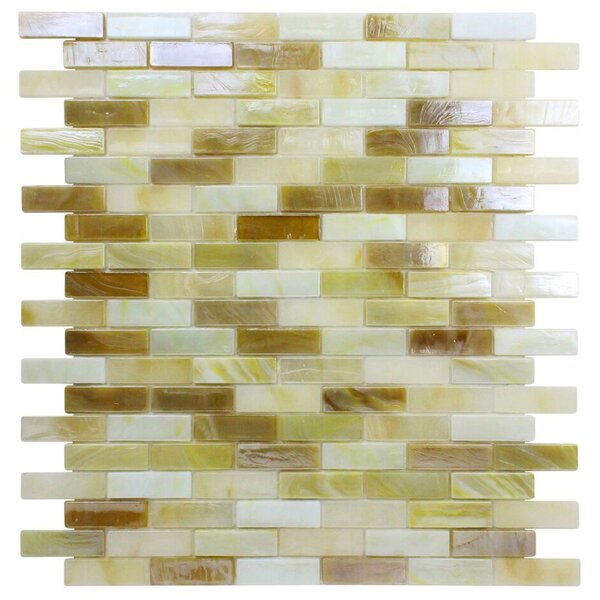 Opal 0.63 x 1.88 Glass Mosaic Tile in Crème Brulee by Kellani