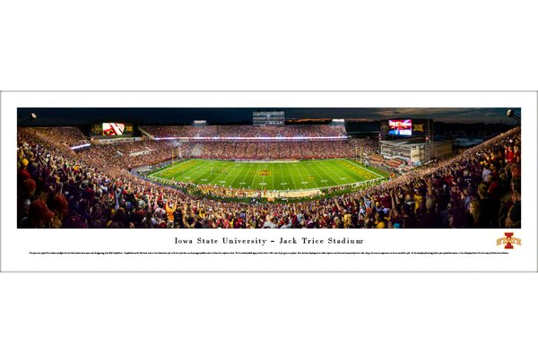 NCAA Iowa State Cyclones Night Football 50 Yard Line Photographic Print by Blakeway Worldwide Panoramas, Inc