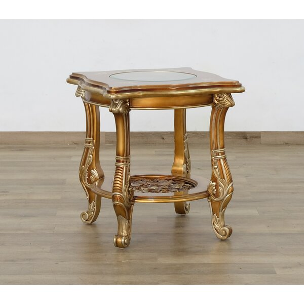 Toups Glass Top End Table