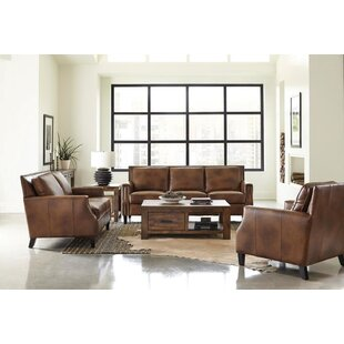 Rockaway 3 Piece Genuine Leather Living Room Set by Williston Forge