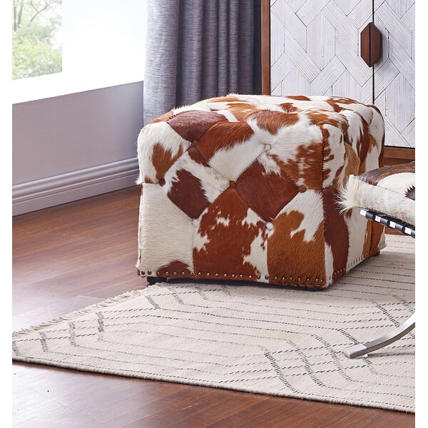 Yother Cowhide Stool by Millwood Pines