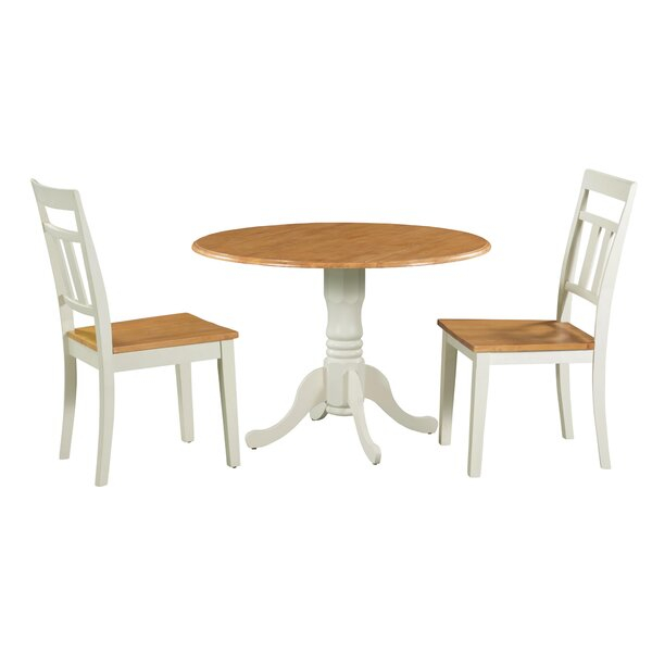 Shoaf 3 Piece Drop Leaf Solid Wood Dining Set by August Grove
