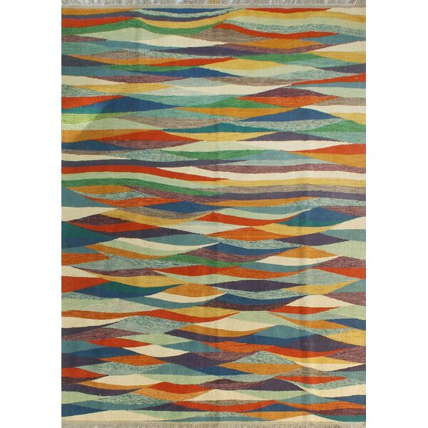 Howerton Hand-Knotted Wool Red/Blue Area Rug by Red Barrel Studio