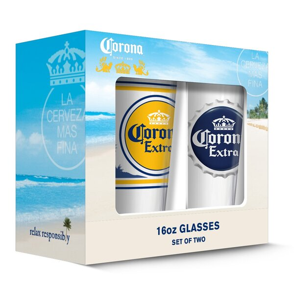 Corona Extra Labels Pub 16 oz. Pint Glasses (Set of 2) by PB