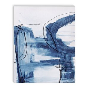 'Blue Abstract' Rectangle Graphic Art Print on Canvas by Latitude Run