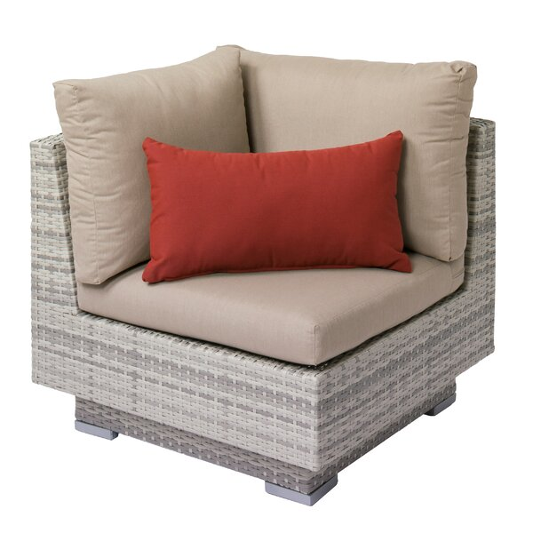 Meleri Patio Wicker Corner Chair with Sunbrella Cushion by Longshore Tides
