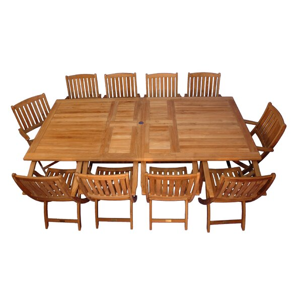 Bullock 11 Piece Teak Dining Set by Highland Dunes