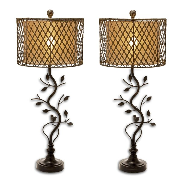 Leaves Lattice 35 Table Lamp (Set of 2) by Urban Designs