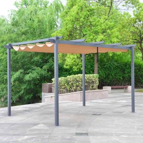 Outdoor Retractable Canopy 13 Ft. W x 10 Ft. D Aluminum Pergola with Canopy by ALEKO
