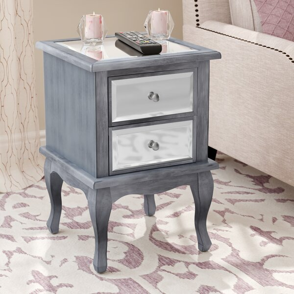 Romig 2 Drawer Mirrored End Table by Willa Arlo Interiors